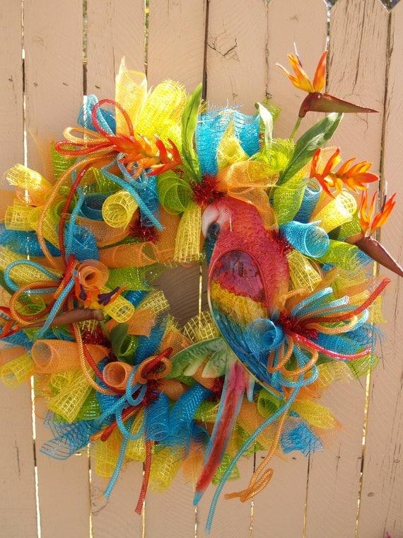 summer parrot tropical deco mesh wreath. Black Bedroom Furniture Sets. Home Design Ideas