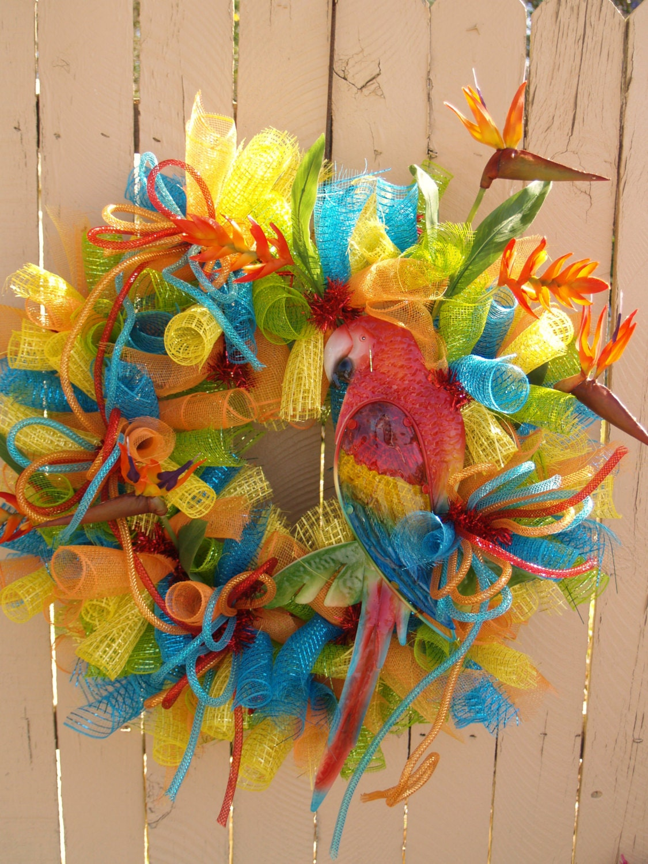 Summer Front Door Wreath: Summer Parrot Tropical Deco Mesh Wreath