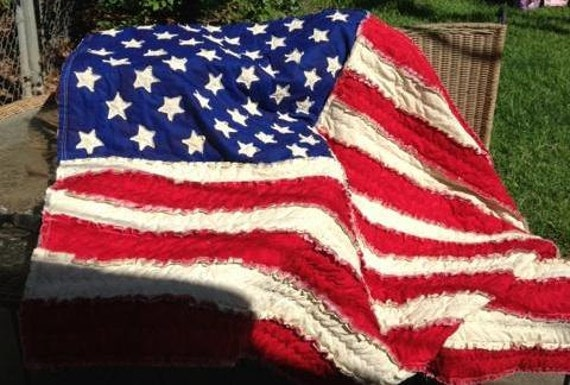 American Flag Rag Quilt Made to Order