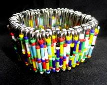 Safety pin bracelet multi, beaded stretch bangle, coloured bangle, coloured bracelet, gifts