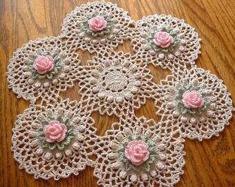 Handmade Pink Rose Crochet Doily