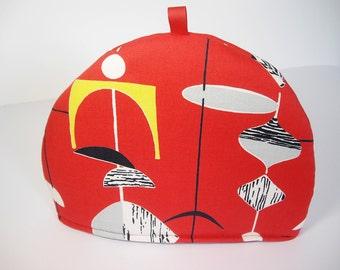 Sanderson Mid century print Mobiles fabric Tea Cosy - Red
