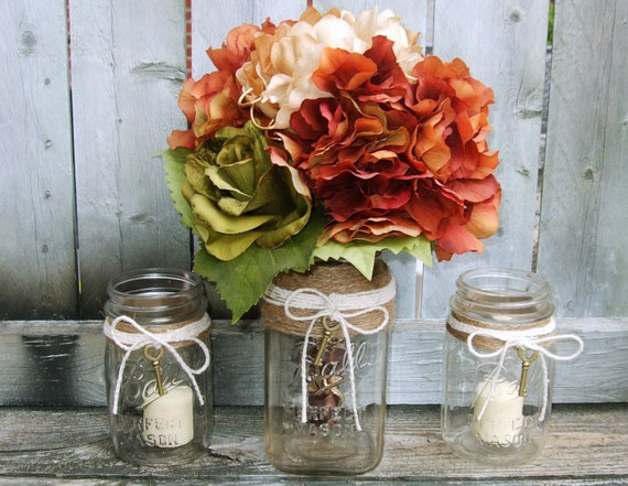 Shabby Chic Wedding Decoration / Rustic  Wedding / Fall Wedding / Bouquet  Vase / Votive Candle Holder / Mason Jar / Sweet Heart Table Set