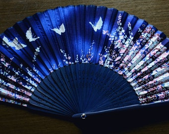 Japanese Hand Fan Hand made Silky fabric Folding Fan (Dark blue), Kimono Sensu, hand fan,  folding fan, wedding fan