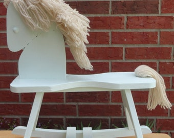 Wood Shabby Rocking Horse With Yarn Mane And Tail