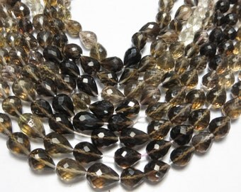 16 Piece 8 Inches Top Quality Smoky Quartz  Micro Faceted Drop Shape Size 8X10 mm To 9X13 mm Approx