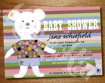 Teddy Instant Printable Invitation  - DIY CUSTOM Printable 'Teddy' Baby Shower Invitation