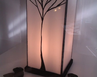 Stained Glass Lamp in white opal glass, with kiln fired hand-painted Tree