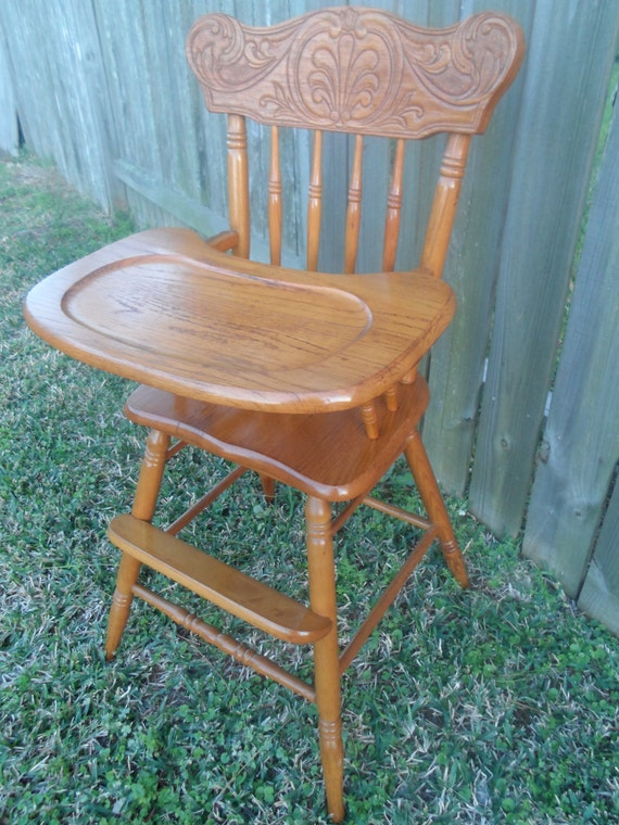 Vintage Oak Baby High Chair