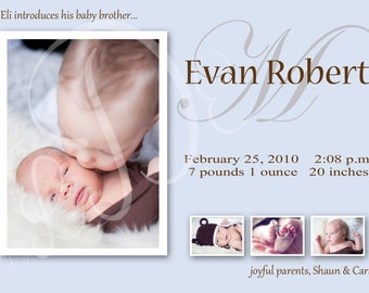 Baby Boy Custom Photo Birth Announcement