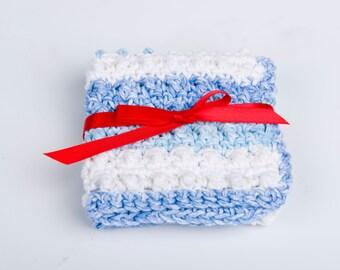 Crochet Washcloth- Cotton Scrubbie- Handmade - shades of blue and white stripes