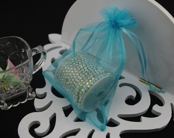 50 4 x 6 Turquoise Organza Jewelry Gift Pouch Bags Great For Wedding favors, sachets, beads, jewelry, and more