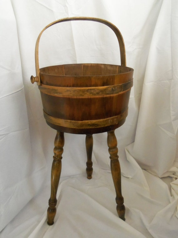 Vintage Wooden 3 Legged Barrel Basket Bucket Wood Sewing Box
