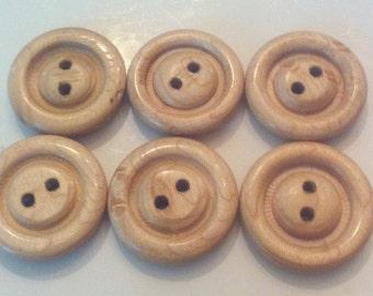 """Handmade wooden buttons, Maple wood, 1 1/8""""  (28mm) diameter"""