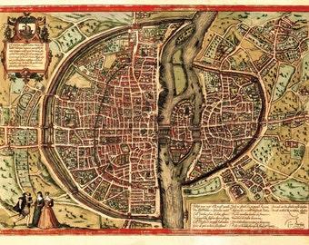 Paris City Map, Braun and Hogenberg, 1572