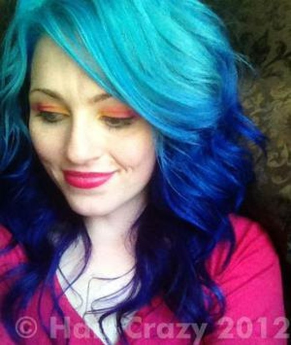 Blue/purple - Turquoise Ombre human hair extensions (4 clip) - 55 cm