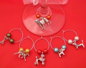 Set of 6 Handmade 'Dog Lovers'  Wine Glass Charms by libbysmarketplace