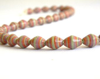Paper Beads - Hand painted - Lot of 32 - #109