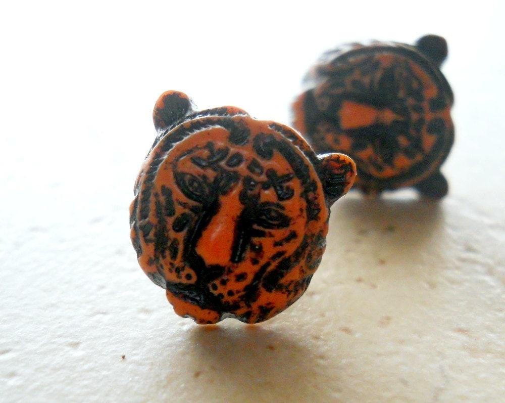 tiger earrings tiger post earrings tiger stud earrings