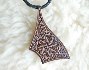 Hand carved leather pendant - tooled leather - leather necklace
