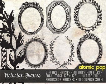 Instant Download // Victorian Frames Digital File Clip Art  // Vector, Decoupage Printout, Photoshop Brushes Clipart, and PNG Files
