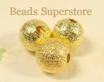 8 mm Gold-Plated Brass Stardust Round Bead - Nickel Free and Lead Free - 25 pcs