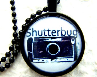 Vintage Shutterbug Pendant Necklace with chain included, Camera Pendant, Photographer Gift, Art Photo Pendant