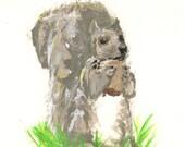 Squirrel in the Yard Original Painting / Original Painting / Woodland Painting / Wildlife