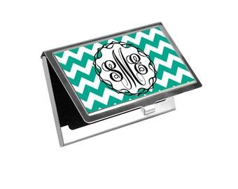 Custom, personalized, monogrammed dark Turquoise chevrons business card holder