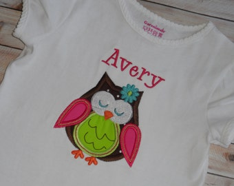 Infant Baby Toddler girls custom applique shirt whimsical owl 3 6 9 12 24 month 2t 3t 4t 5t