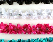 """Double Sided Satin Ruffle Trims With Rhinestones 1-1/4"""" (pack of 10 yards)  - ** FREE SHIPPING **"""