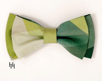 Silk Men's Bow Tie Green colorblock plaid / LIMITED EDITION / Groomsmen / Ringbearer