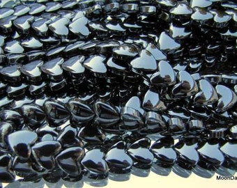"15"" strand Hematite Heart Beads, Heart Shaped Beads, Semiprecious Beads, 15"" strand, 8mm Beads jewelry making, beads wholesale Spacer Beads"
