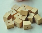 25pcs Natural Wood Bead Unfinished Rectangular Square Cuboid Cube Wood Bead - No Varnish & No Lacquer 15x15x10mm MT286
