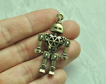 2pcs Antique Bronze 3D Robot Charms Double Sided 46x25mm K137