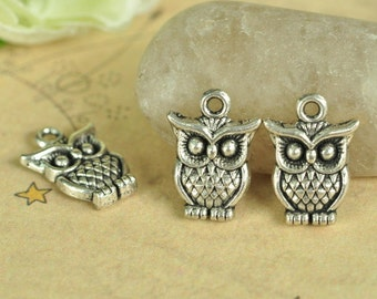 20pcs Antique Silver Lovely Owl Charms 16x12mm K505
