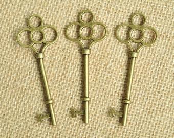 5pcs Antique Bronze Large Flower Key Charms 75x29mm MM493