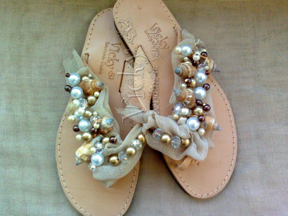 NUDE-Sea shells,pearls & crystals.Handmade leather sandals