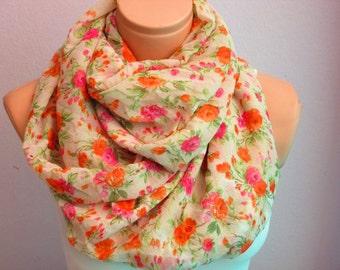 Floral Infinity Scarf  Shawl Circle Scarf, Loop scarf, Women's Scarves