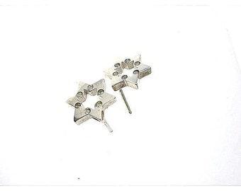 Sterling Silver Cz Star Of David Studs Earrings