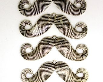 4 pc  Moustache Pendant,  Antique Silver. Immediately ship from California.