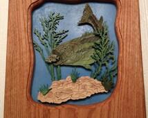 "scroll saw art plaque Bass underwater scene plaque, solid oak frame approx. 12""X12"",  scene is 3D."