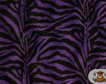 Zebra Purple Velboa Animal Print  Fabric Sold by the Yard