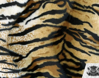 Tiger Syberian Velboa Animal Print Fabric Sold by the Yard