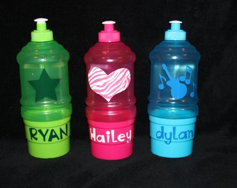 Personalized Kids Water Bottle & Snack Container - Children's Party Favor