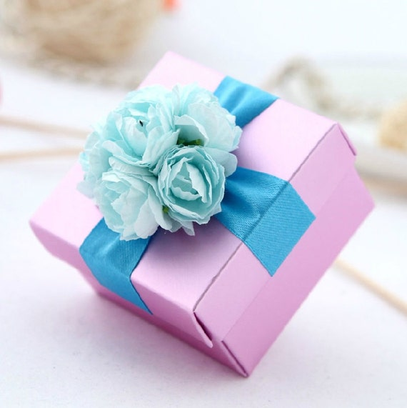50 pcs Light Pink Wedding Candy Box  with blue ribbon and flowers  , Wedding Favor Candy Box , DIY  Party Paper Favor Box