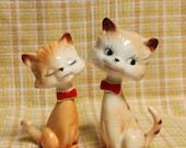 Delightful Vintage Cat Ornaments - Set of 2