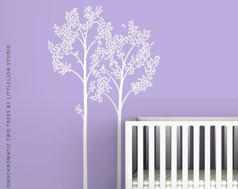 White Two Trees Wall Decal by LittleLion Studio