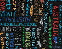 Half Yard Down Under - Aussie Lingo Black - Cotton Quilt Fabric - by Kanvas - Benartex (W157)