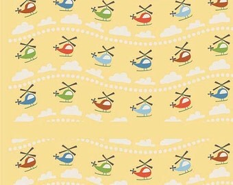 SALE!! - Fat Quarter Riley Blake Yellow Helicopter Scoot Cotton Quilt Fabric - by Deena Rutter (W23)